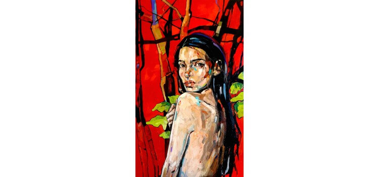 Anna Bocek painting red forest