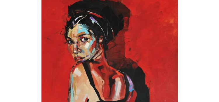 Anna Bocek painting red wall