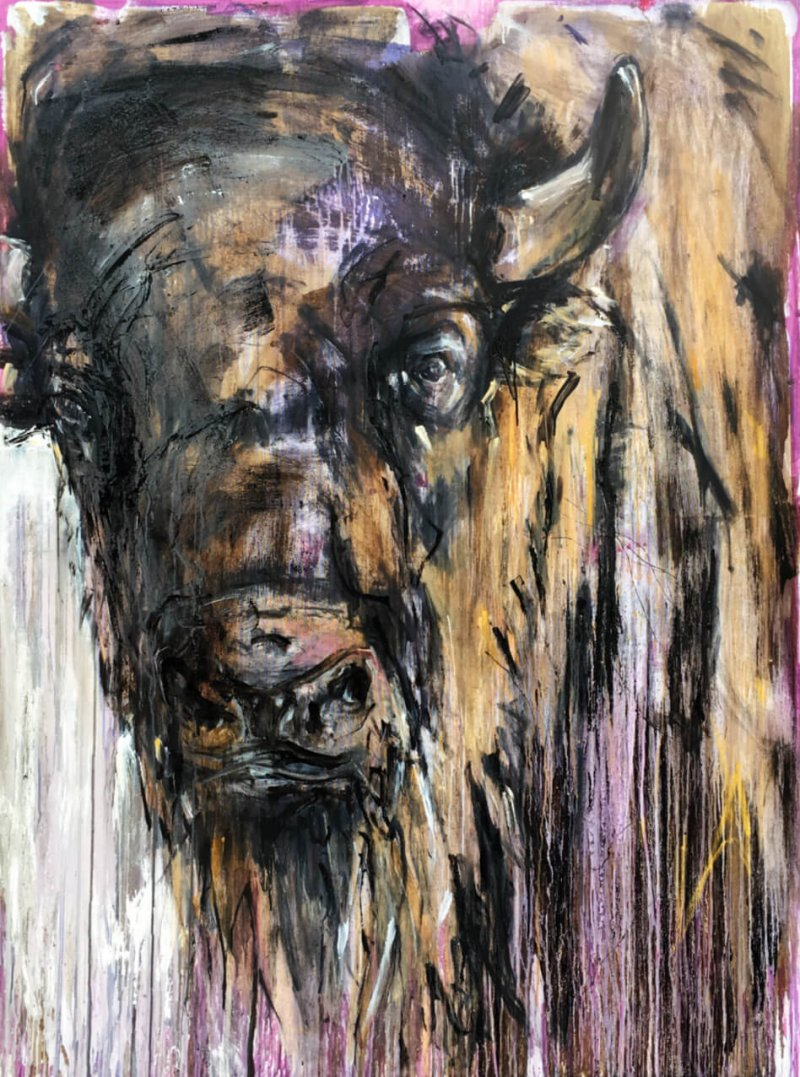 Ralf Koenemann painting bison 5