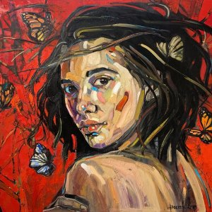 Anna Bocek painting Rainforest