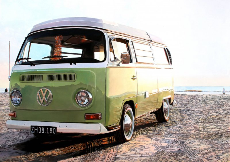 Andreas Maul - VW-Bulli in Vejers am Strand
